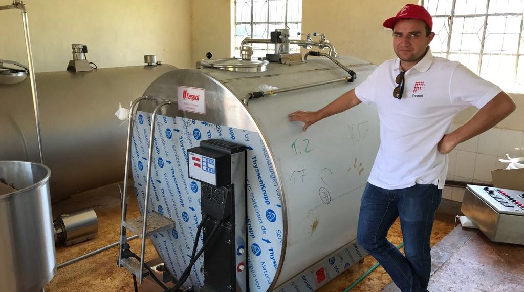 Faspol CEO Marcin Kaleta at a site where one of the ultra-modern milk cooling machines has been installed. The machine will help improve milk handling by dairy farmers in Kenya.