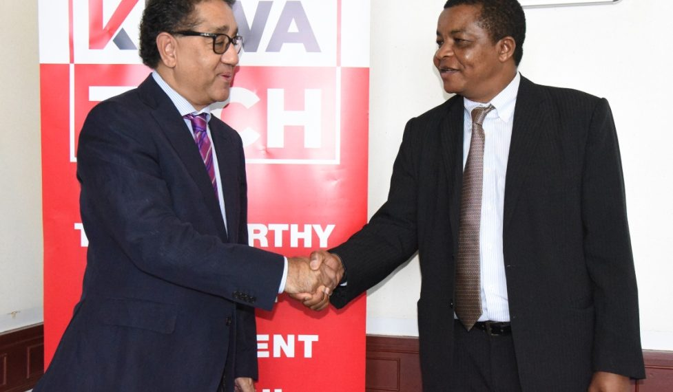 KRA Commissioner General Mr John Njiraini (right) with Oracle's Business Applications for East and Central Europe, Middle East and Africa (ECEMEA) Vice President Mr Arun Khehar at Times Tower, Nairobi, on Jan. 17 www.exchange.co.tz