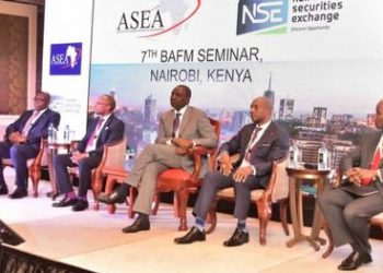 Kenya's Deputy President William Ruto(C) with Chief Executives during the 7th Building African Financial Markets seminar in Nairobi.