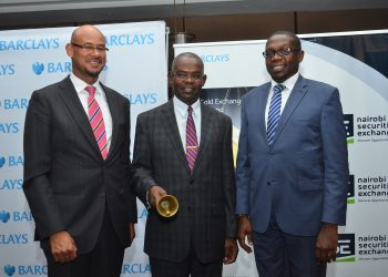 NSE chief executive Geoffrey Odundo(R) with Treasury PS Kamau Thugge and Barclays Bank of Kenya managing director Jeremy Awori (L)during the launch of the Exchange Traded Funds (ETFs) market at the bourse in March 2017.