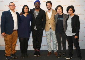 Wi.l.i.am one of the judges at the Chivas Venture finals poses with the top 5 finalists/Courtesy