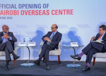 From Left: Industrialization CS (Kenya)Adan Mohamed,Singapore Deputy Prime Minister and Coordinating Minister for Economic and Social Policies Tharman Shanmugaratnam and Karim Anjarwalla the Managing Partner of the Anjarwalla and Khanna, on a panel discussion during the official opening of the Enterprise Singapore Nairobi Overseas Center/Courtesy