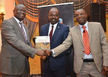 Lucas Meso, MD -Agriculture Finance Corporation; Dr Habil Olaka, CEO-Kenya Bankers Association , and Jared Osoro, Director -KBA Centre for Research on Financial Markets and Policy during the launch of the KBA Agri-Financing Report. The report calls for more investment in the agricultural sector. [Photo/KBA]