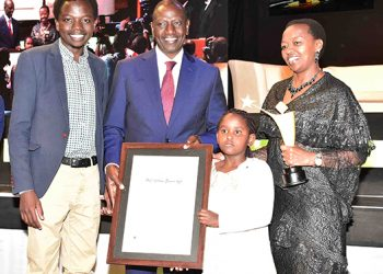 Deputy President William Ruto with family members during the Young Achievers awards ceremony, Kampala, Uganda. He was awarded the 2018 Lifetime Achievement Award.