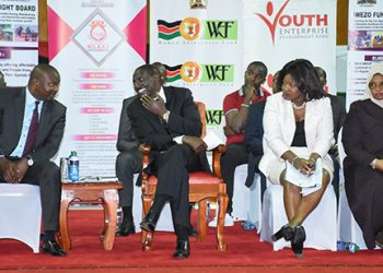 Deputy President William Ruto when he presented cheques worth Sh112 million to women and youth groups, Kasarani, Nairobi County. Ruto has told the youth and gender affairs Cs to work with parliament to amend laws on women groups formations.