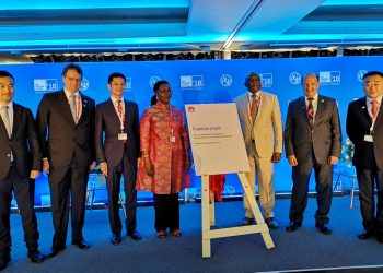From left: Xue Man, Vice President of Huawei Global Public Affairs, Andre Borges, Secretary of MCTIC, Brazil, Zhou Mingcheng, Vice President of Huawei Global Government Affairs Dept., Hon. Ursula Owusu-Ekuful, Minister for Communications, Ghana, Dr. Siyanbonga Cwele, Minister of Telecommunications and Postal Services, Dr. Abdulaziz Al-Ruwais, Governor of CITC, Saudi Arabia, Zhou Jianjun, Vice President of Huawei Carrier Business Group. exchange.co.tz
