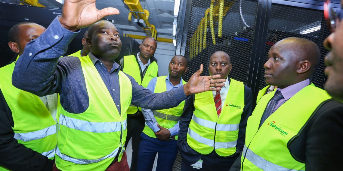 Safaricom, Senior Manager, Data Centre Design, planning and operations, Festus Muga (left) explains the new Safaricom Tier 3 Design Data Centre and critical components that build up to the resilience of the facility to Director ICT, Kiambu County, Samuel Njuguna (right), and Safaricom, Director, Risk Management, Nicholas Mulila during the launch in Thika.