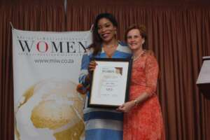 Gisele Mwepu (left) receives her Africa's Most Influencial Woman in Financial Services award from CEO Global Chief Executive Annelize Wepener during the award ceremony held in Accra, Ghana. Gisele is the Founder and CEO of Okapi Finance International, which operates in Kenya as Okapi Finance East Africa www.exchange.co.tz