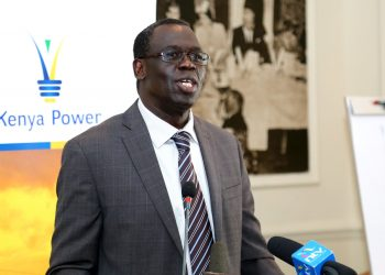 KPLC acting Managing Director&CEO Jared Othieno speaks during an investor briefing in Nairobi on November 23.