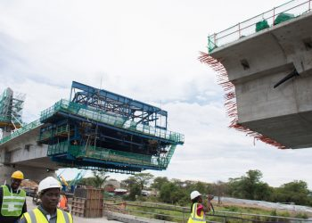 A section of the Kazungula Bridge under construction. On completion, the bridge will open up markets in eight African countries. www.exchange.co.tz
