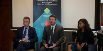 (L-R ) Control Risks CEO Richard Fenning ,Senior Partner East Africa Daniel Heal and Analyst Patricia Rodrigues address media during the press briefing at Capital Club Nairobi.