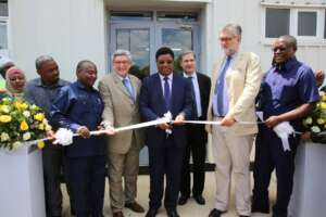 Prime Minister of Tanzania, Hon. Kassim Majaliwa cutting the ribbon to inaugurate the opening of Cassava Starch of Tanzania Corporation (CSTC- The Exchange
