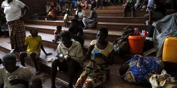 Displaced families and victims of Cyclone Idai at the Samora Machel Secondary School which is being used to house victims of the floods in Beira, Mozambique. Following the devastation from Cyclone Idai, the disaster brings to the fore the reality that Mozambique is among the most vulnerable in the world. www.exchange.co.tz
