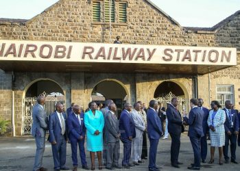 President Uhuru Kenyatta with French President Emmanuel Macron at the Nairobi Central Railway Station. A commuter rail project will be implemented in partnership with a French Consortium. www.exchange.co.tz