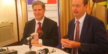 French Ambassador to Tanzania (Left) Mr Frédéric Clavier looks on as Hyatt Regency Tanzania General Manager Mr Garry Friend- The Exchange